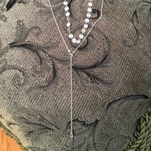 Layered, drop necklace - silver tone